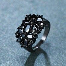 Unique mode femme noir ovale bague en pierre Vintage grands anneaux de mariage pour les femmes promettent amour bague de fiançailles