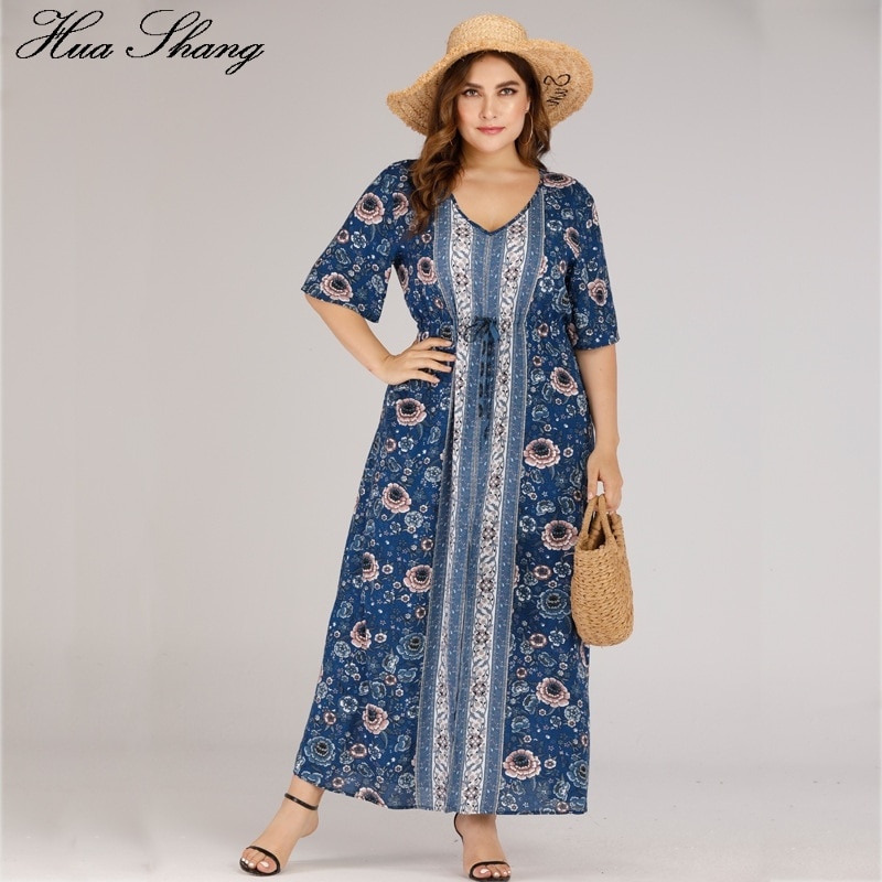 Women Summer Boho Maxi Long Dress Plus Size 2020 V Neck Short Sleeve Floral Print Boho Beach Dress Blue Ladies Tunic Dresses