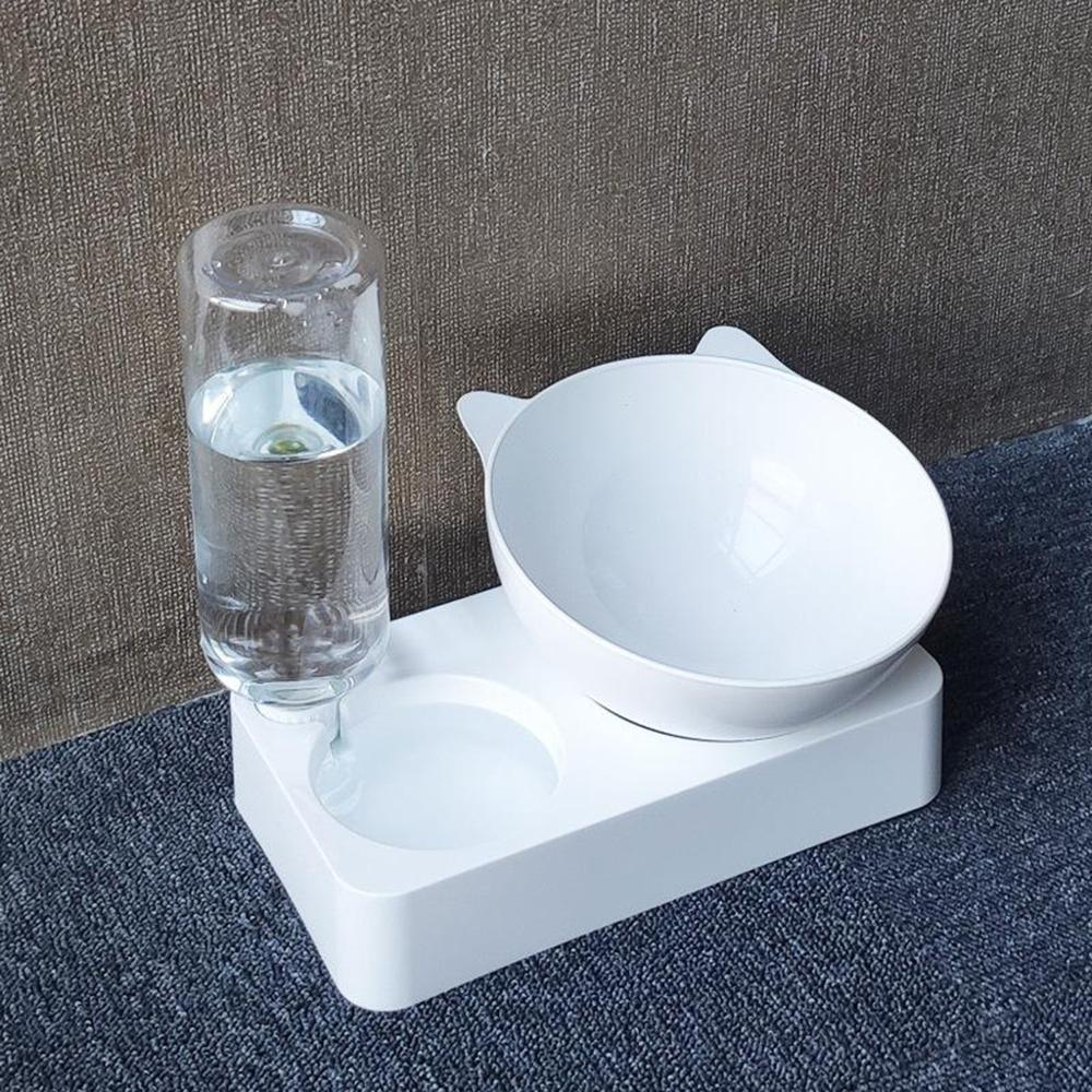 Купа за домашни любимци автоматична хранилка кучешка котешка храна за храна с дозатор за вода двойна купа за пиене повдигнати стойки чинии с принадлежности за домашни любимци