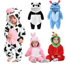 Newborn Rompers Cartoon Cosplay Panda Sleepwear Clothes Hooded Pyjamas Baby Boys Girls Jumpsuit Stit