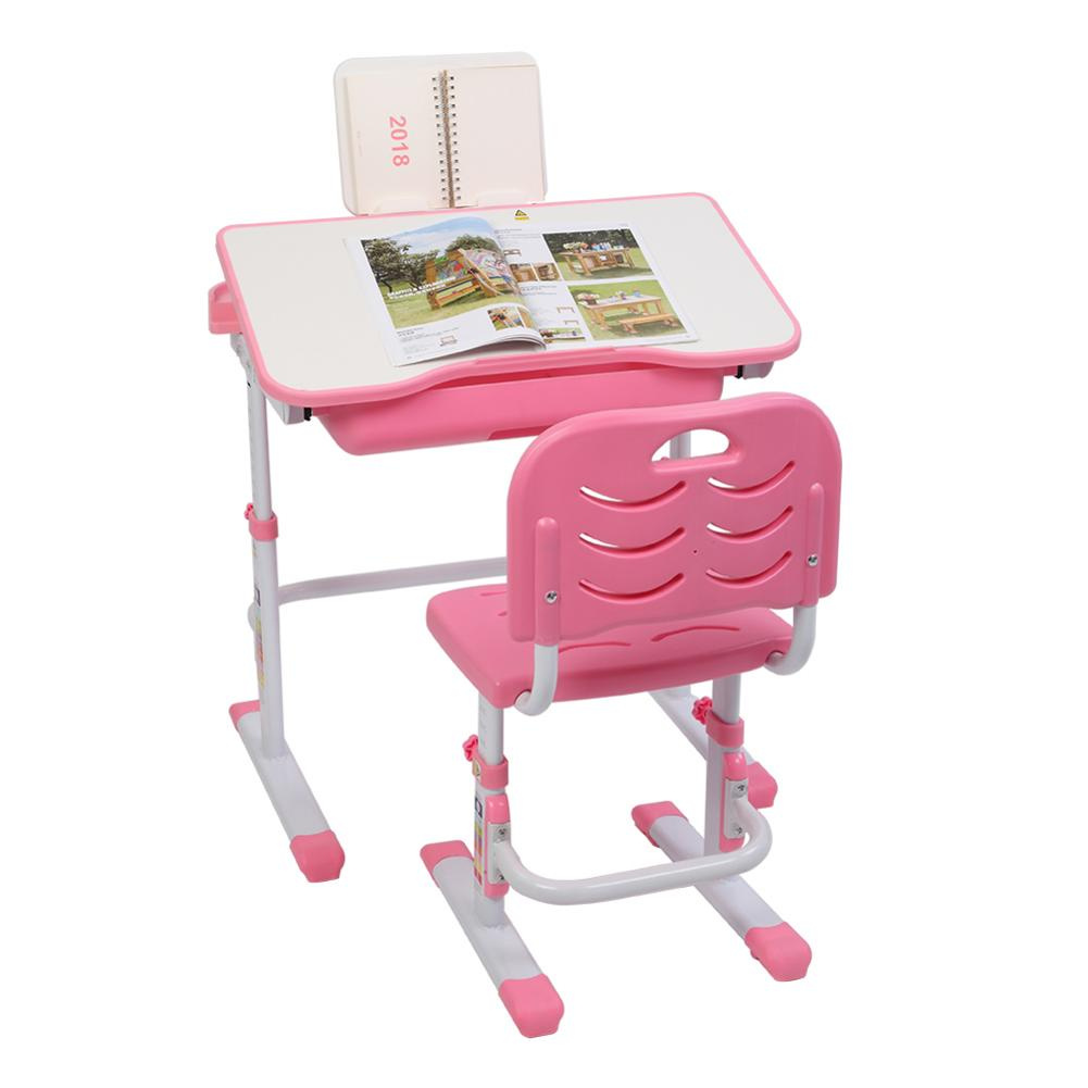 طاولة رفع قابلة للإمالة للأطفال ، طاولة تعليمية باللون الوردي مع حامل قراءة ، بدون مصباح ، طاولة وكرسي ، 70 سنتيمتر