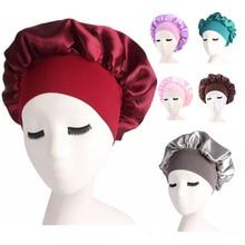 New Fashion Night Sleep Cap Wide Elastic Hair Care Hat Satin Solid Head Cover Bonnet Band Nightcap W