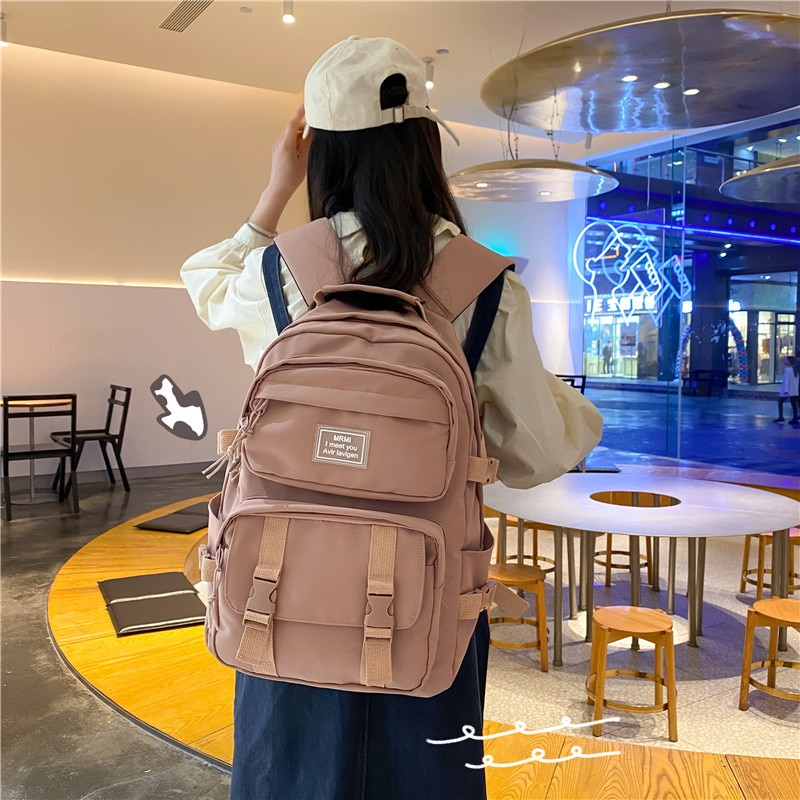 Schoolbag female college student large capacity backpack male Multi Pocket middle school student sim