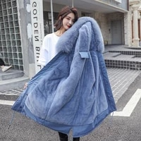 winter jacket women plus size s 3xl cotton fur hooded puffer jacket female blue lady parka coats womens jacket clothes outerwear