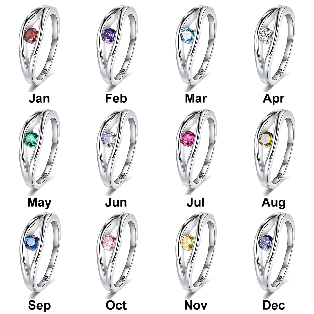 JrSr new 925 sterling silver personalized engraving name 12 months birthstone rings Women custom DIY jewelry gifts free shipping