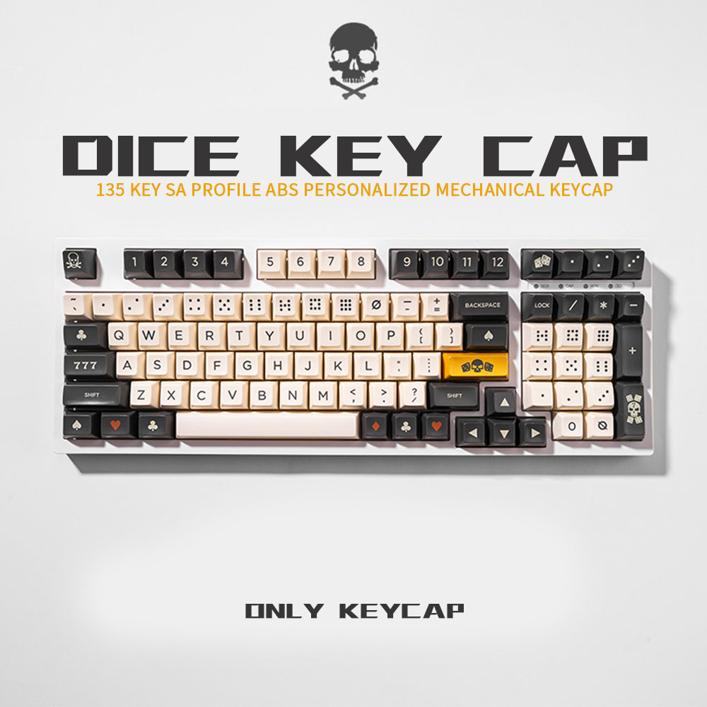 SA Profile 132 Keys Bliss Ball Cap Keycap Personalized Bone color big carbon dice Keycaps For Cherry Switch Mechanical Keyboard