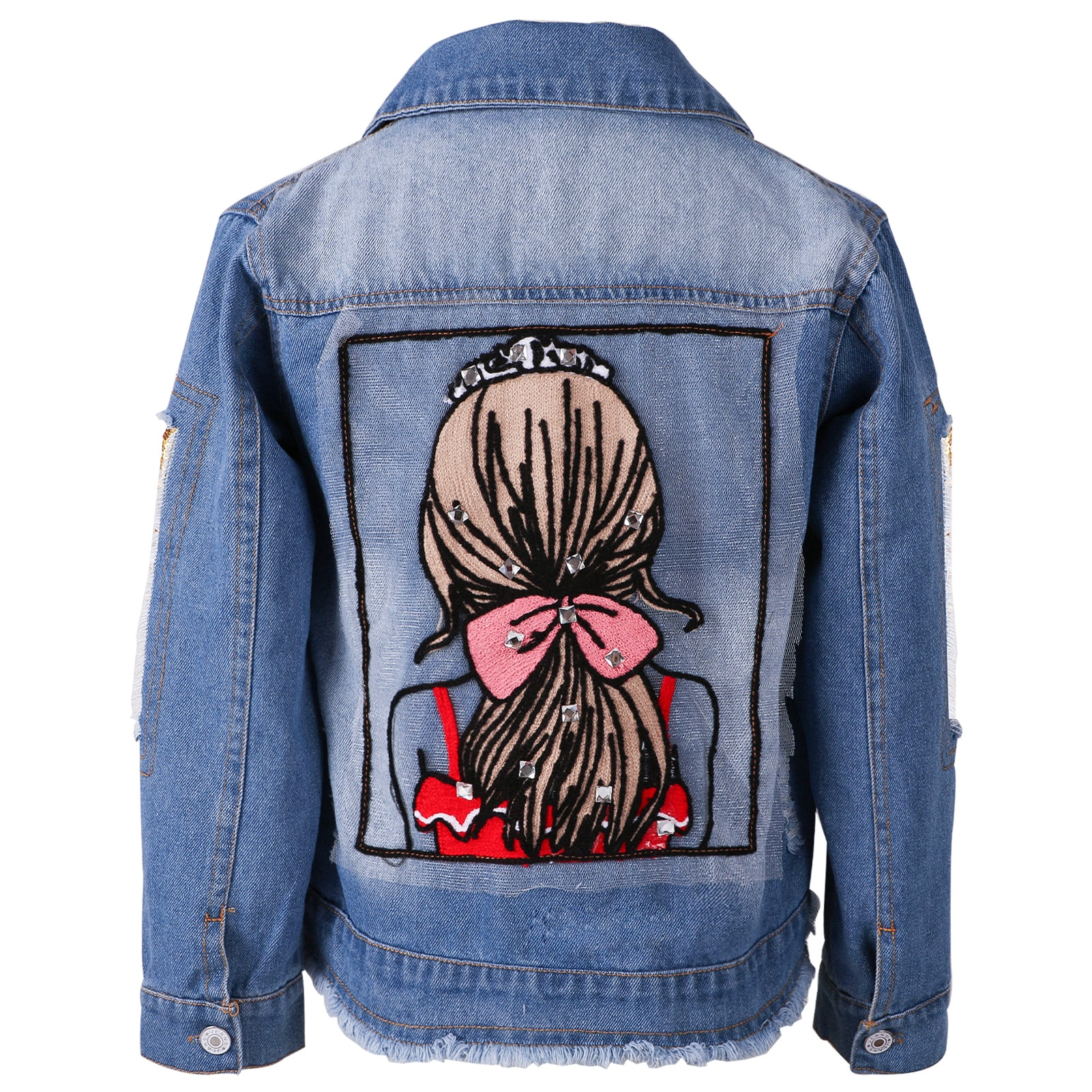 Girls Denim Jacket Sequins Appliques Long Sleeve Cardigans Coat Single-Breasted Cute Outerwear for 2-12T Toddlers Clothes