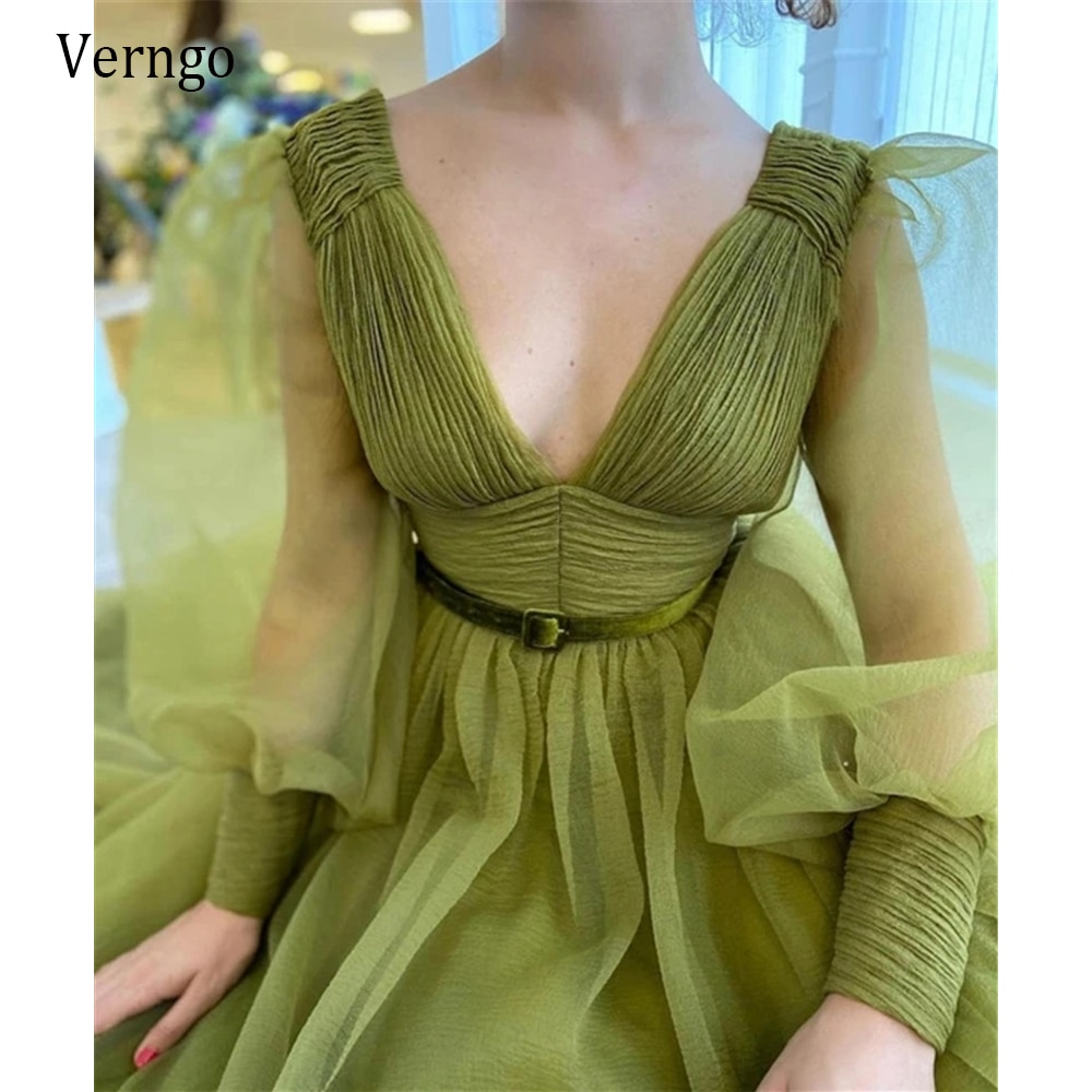 Verngo Retro Army Green Organza A Line Long Prom Dresses With Puff Sleeves Velvet Belt Deep V Neck Sexy Party Evening Gowns army green v neck half sleeves curved hem blouses