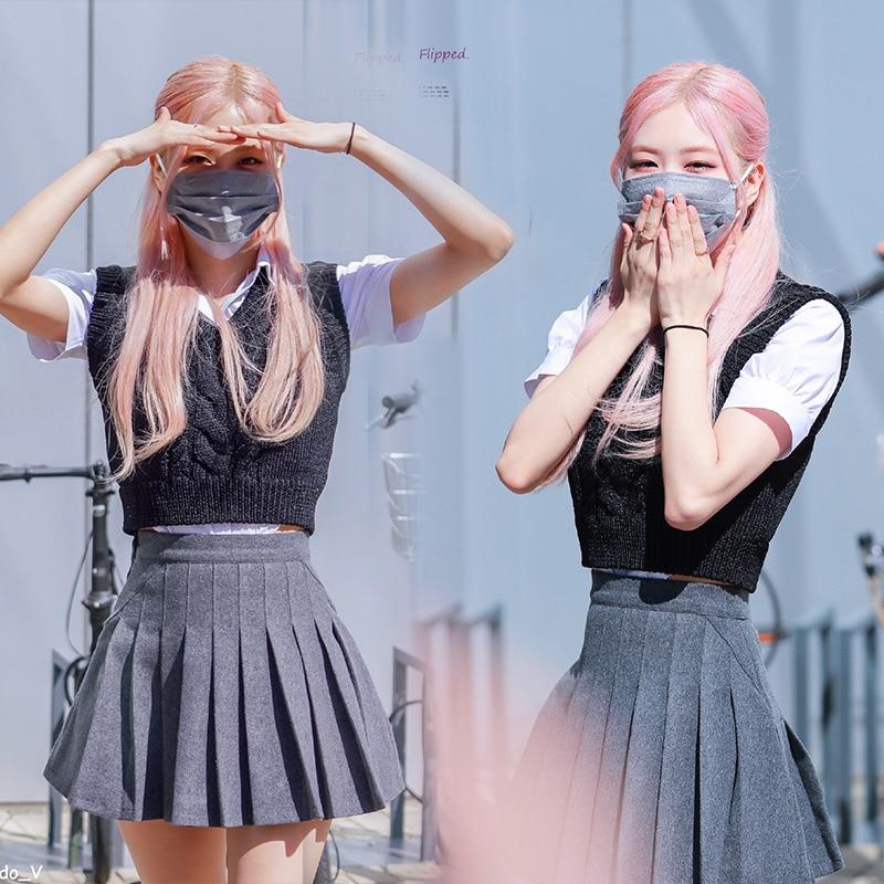 KPOP IU Seo Yea Ji ROSE صيف جديد موضة متماسكة سترة بلايز قصيرة الأكمام قميص والرمادي عالية الخصر مطوي تنورة المرأة 2 قطعة مجموعة