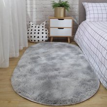 Tapis de chevet ovale pour chambre à coucher   Tapis pour canapé Table basse, tapis antidérapant tapis en peluche pas pelucheux, couverture Non décolorée