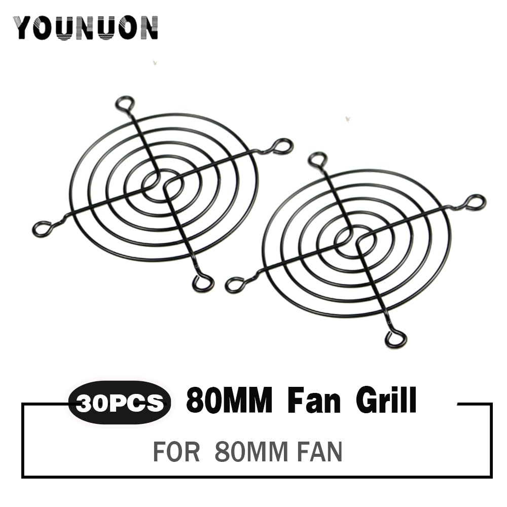 30 Pieces 80mm Fan Grills 80mmx80mm Black Metal Wire Finger Guard For CPU Fan DC Fan Grill Guard Protector Nickel Plated