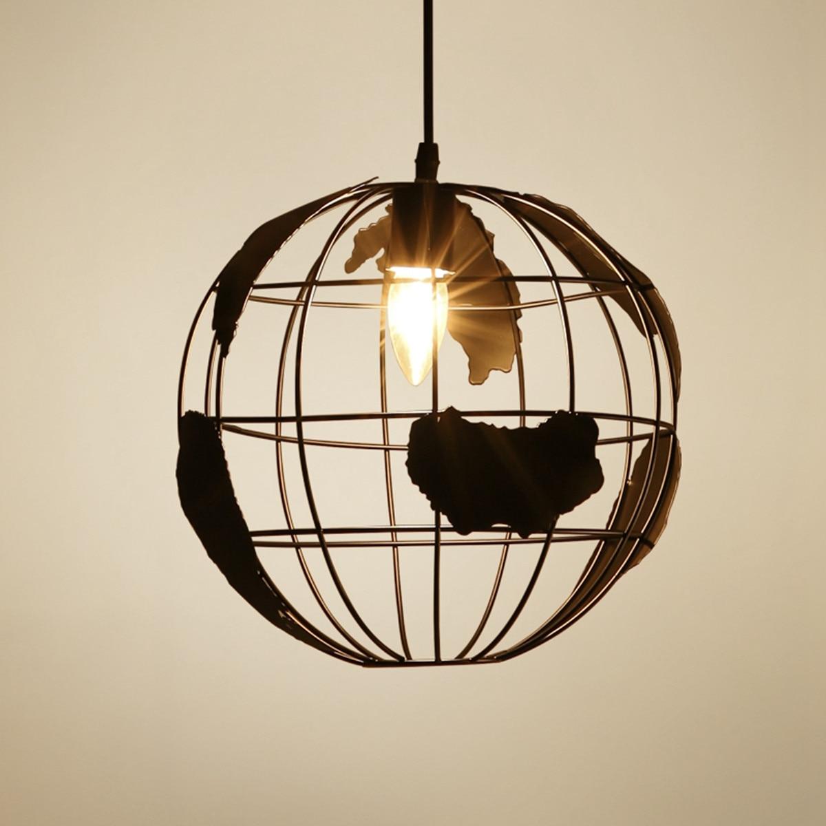 Plate Restaurant Coffee Indoor Home Ceiling Decor E27 Bulb World Map Globe Earth Shaped Hanging Pendant Light