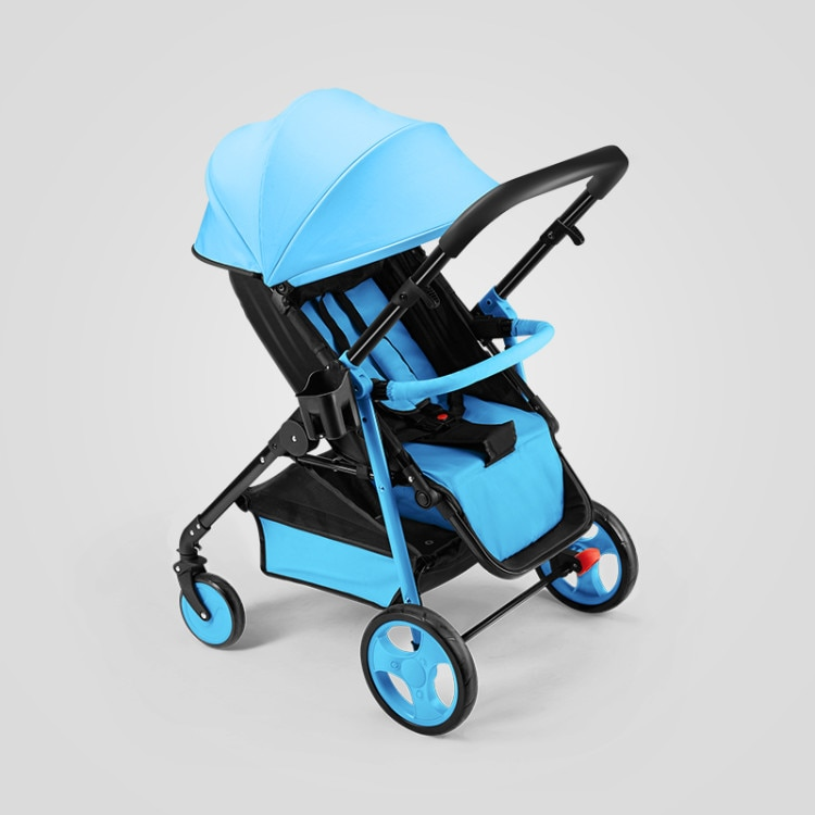 Lightweight two-way stroller can sit and lie down, one-button folding shock absorber four-wheel stroller baby stroller enlarge