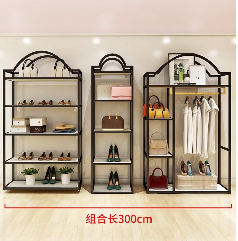 Clothing store display rack floor type men and women wear shelf display rack on the wall island combination
