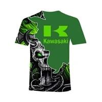 summer hot sale new cool fashion t shirt kawasaki motorcycle racing 3d printing t shirt men and women loose breathable top