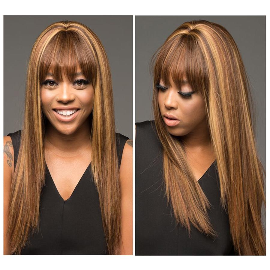 Ombre Human Hair Wig P4-27 Colored Straight Human Hair Wig With Bangs Brazilian Human Hair Wig For Black Women Dorisy Non Remy