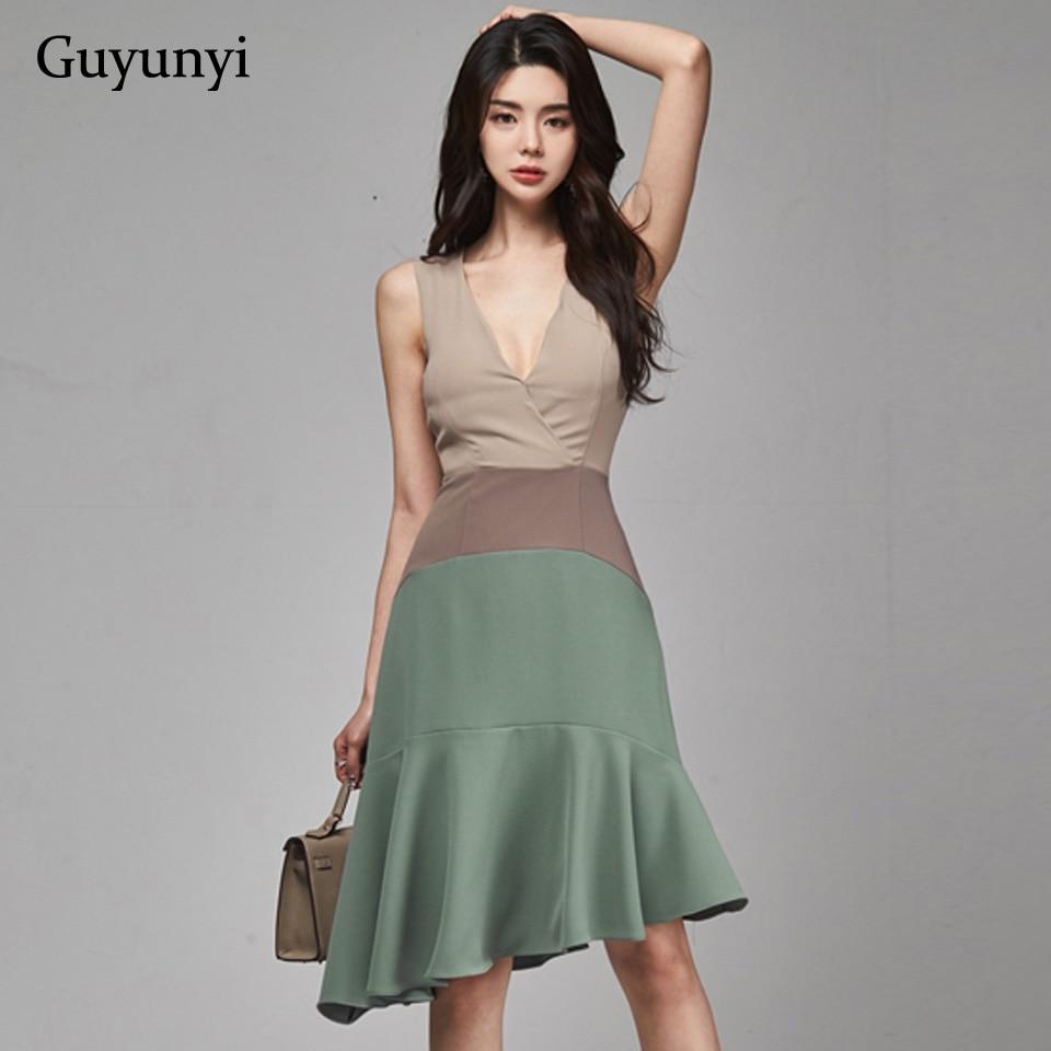 British Style Elegant Party Dress 2020 Summer Simple Fashion Three Colors Stitching V-Neck Sleeveless High Waist Tight Dress
