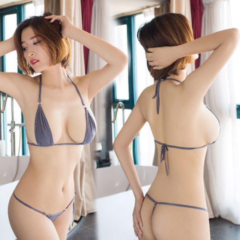 Micro Bikini Swimsuit Women Bikinis Wild Style Mini Bikini Set Halter Neck Self-tie Bra Top With G-String Thong Swimwear self tie ruffle bikini set