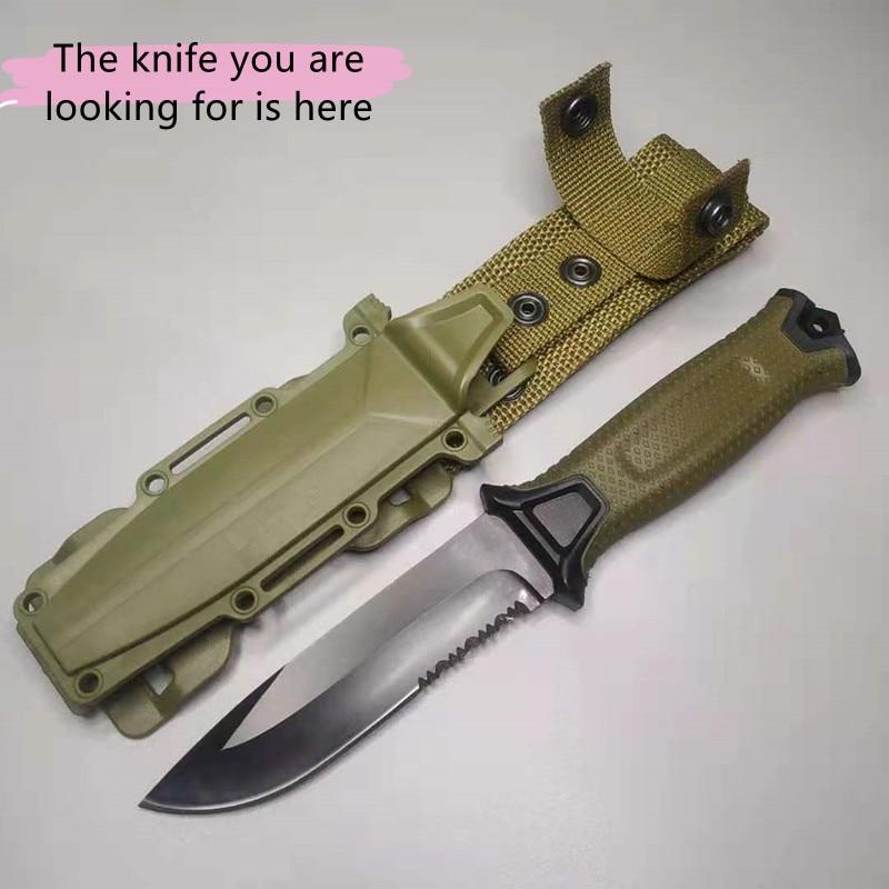التقليدية العسكرية مستقيم سكين الغابة سكين صيد مغامرة التحدي البرية أدوات إنقاذ الدفاع عن النفس مع Scabbard