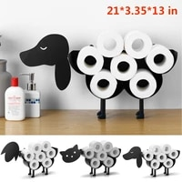 Porte-rouleau de papier toilette noir mouton chat chien  rangement de fer de salle de bains artisanat autonome ornements rouleau