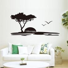 Autocollant Mural Mural coucher de soleil mouettes grand arbre décalcomanie amovible papier peint moderne décor à la maison paysage vinyle pour salon Art