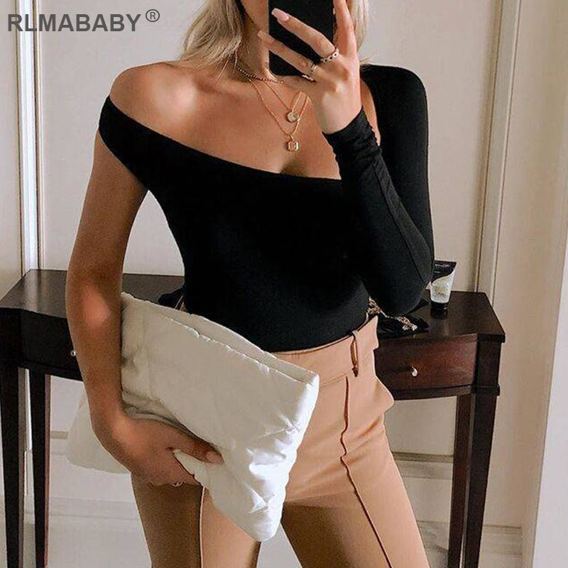 RLMABABY Sexy One Shoulder Bodycon Bodysuit Asymmetrical Hollow Out Long Sleeve Playsuit Backless Button Rompers Womens Jumpsuit