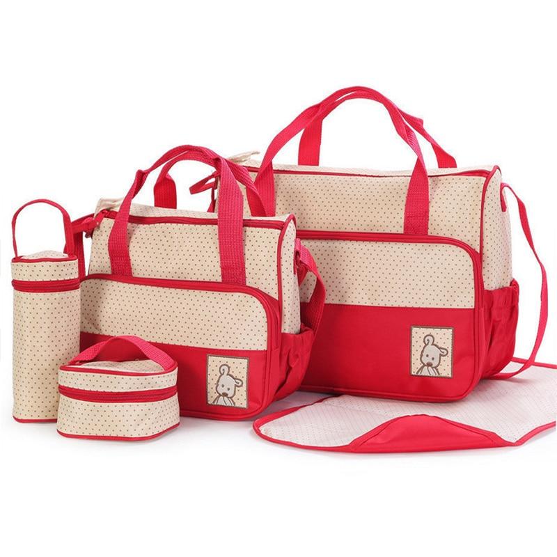 Multifuncational 5Pcs Baby Diaper Bag Shoulder Bags Organizer For Mummy Maternity Baby Bag For Mom Stroller Nappy Diaper Bag enlarge