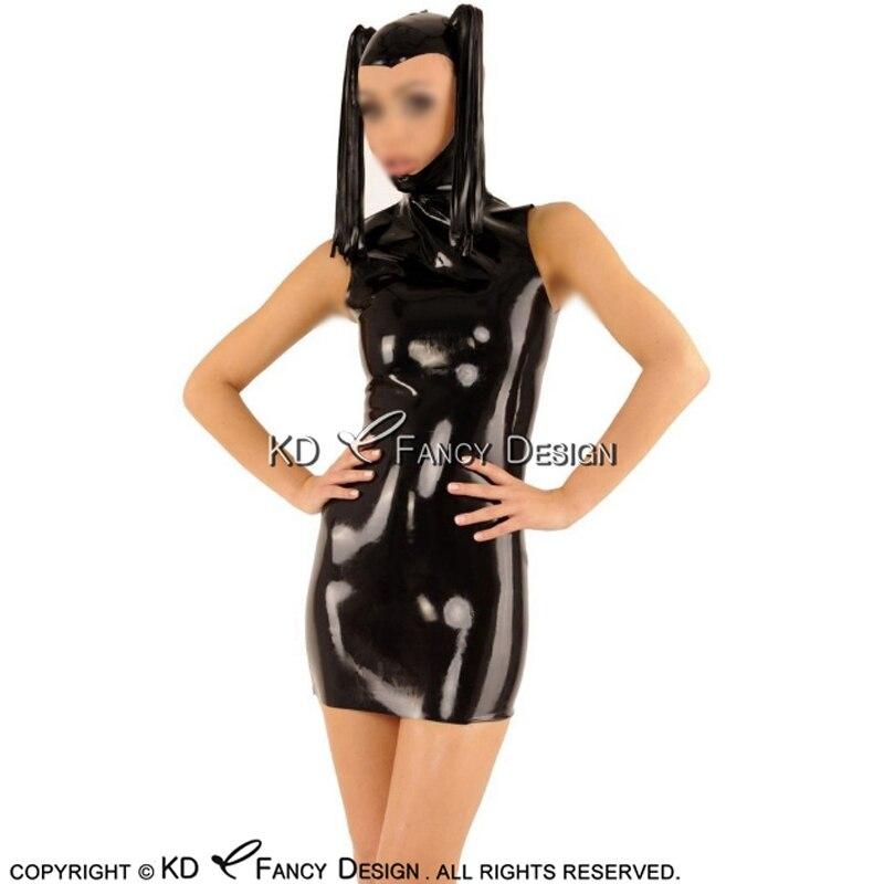 أسود مثير اللاتكس اللباس مع القلنسوات ضفيرة مواجهة مفتوحة أكمام سستة في الظهر المطاط Bodycon Playsuit LYQ-0149