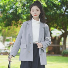 Chic Khaki 2020 New Autumn and Winter Design Striped Suit Jacket Female Loose British Style Student