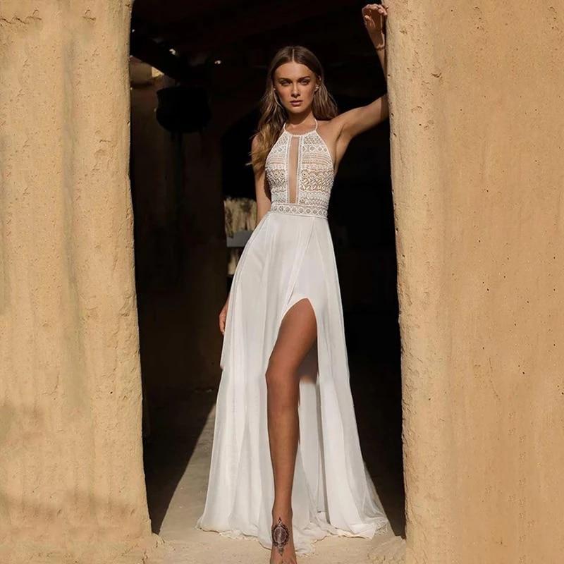 Chiffon Vintage Boho Bridal Gown Sleeveless Simple Bride Dress Slit Dress Lace Backless Halter Wedding Dress Custom Made