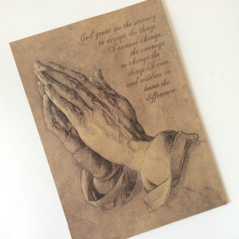 """""""As mãos de oração"""" Retro Kraft Papel Poster Pintura Decorativa Arte Da Parede 42X30 cm/16.5x11.8in"""