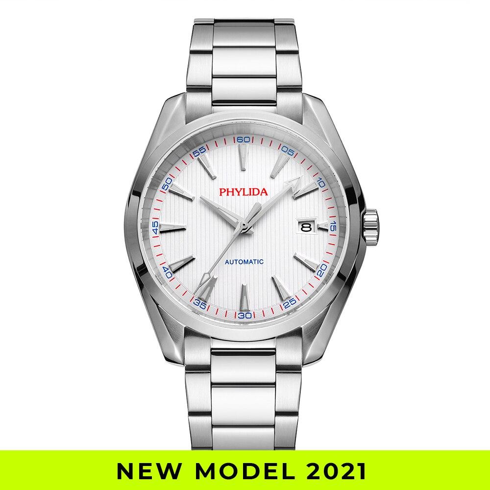 Resistente à Água Relógio de Pulso Relógio Automático Dial Branco Moda Clássico Mecânico Sólido ss Safira Cristal Aqua 10bar Nh35a