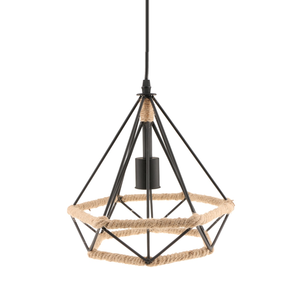 Industrial Manila Rope Iron Pendant Lampshade Ceiling Chandelier