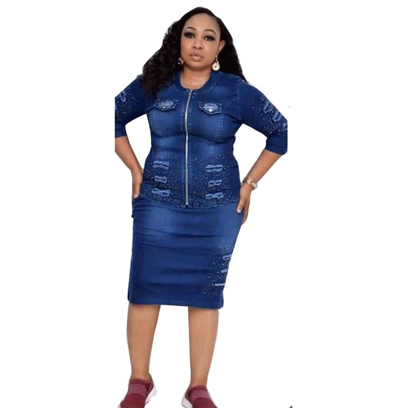 2 peça conjuntos de roupas das mulheres manga longa denim topo mini saia conjunto escritório senhoras mais tamanho dois conjuntos peças atacado dropshipping