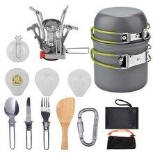 ABZB-plein air pique-nique vaisselle Camping Pot Trekking Pot pièces/ensemble Camping poêle de théière outils de cuisson Camping vaisselle Fryi