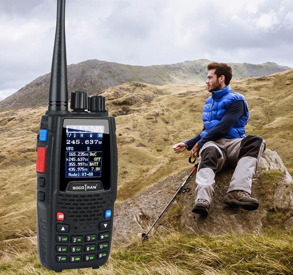 KT-8R рация Quad Band UHF VHF 136-147 МГц 400-470 МГц 350-390 МГц-МГц портативная 5 Вт УФ двухсторонняя радиосвязь с цветным дисплеем