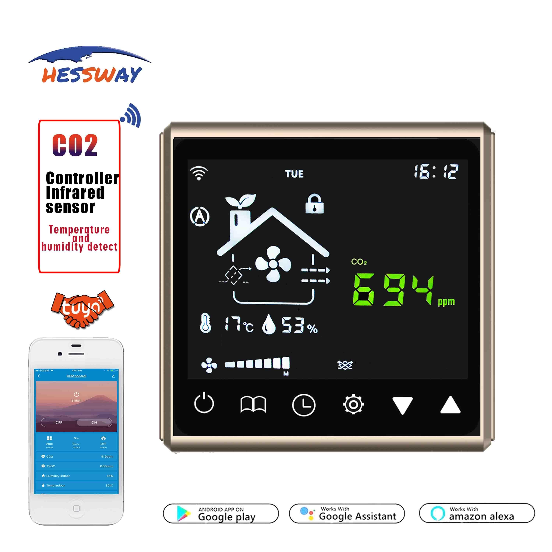 TUYA-منظم مستشعر جودة الهواء ، wi-fi ، التحكم في التطبيق ، بروتوكول RS485 ، لجودة الهواء النقي