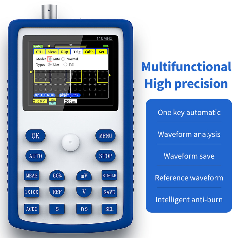 FNIRSI-1C15 المهنية الرقمية راسم 500 عينات عملاقة/ثانية معدل أخذ العينات التناظرية عرض النطاق الترددي دعم الموجي تخزين واحدة buttonFastAuto