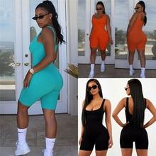 Sexy Women Sleeveless Romper Jumpsuit Bodycon Bodysuit Slim Fit Sports Short Pants Clubwear Backless