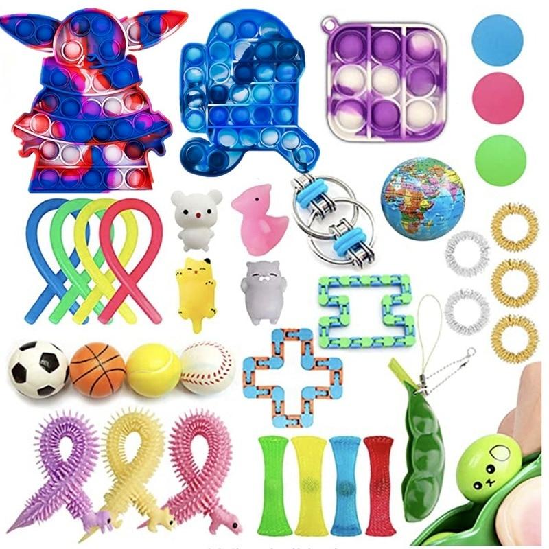 8pcs pack fidget sensory toy set stress relief toys autism anxiety relief stress pop bubble fidget toys for kids adults Fidget Sensory Toy Suit Pack Stress Relief Toys Autism Anxiety Relief Stress Bubble Fidget Toys For Kids Adults