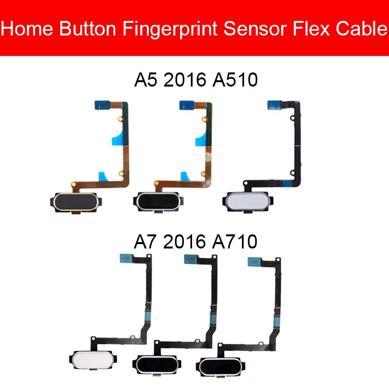 Sensor de huella digital de retorno Cable flexible para Samsung Galaxy A5 A7 2016 A510 A710 inicio menú botón Sensor cinta flexible piezas de reparación