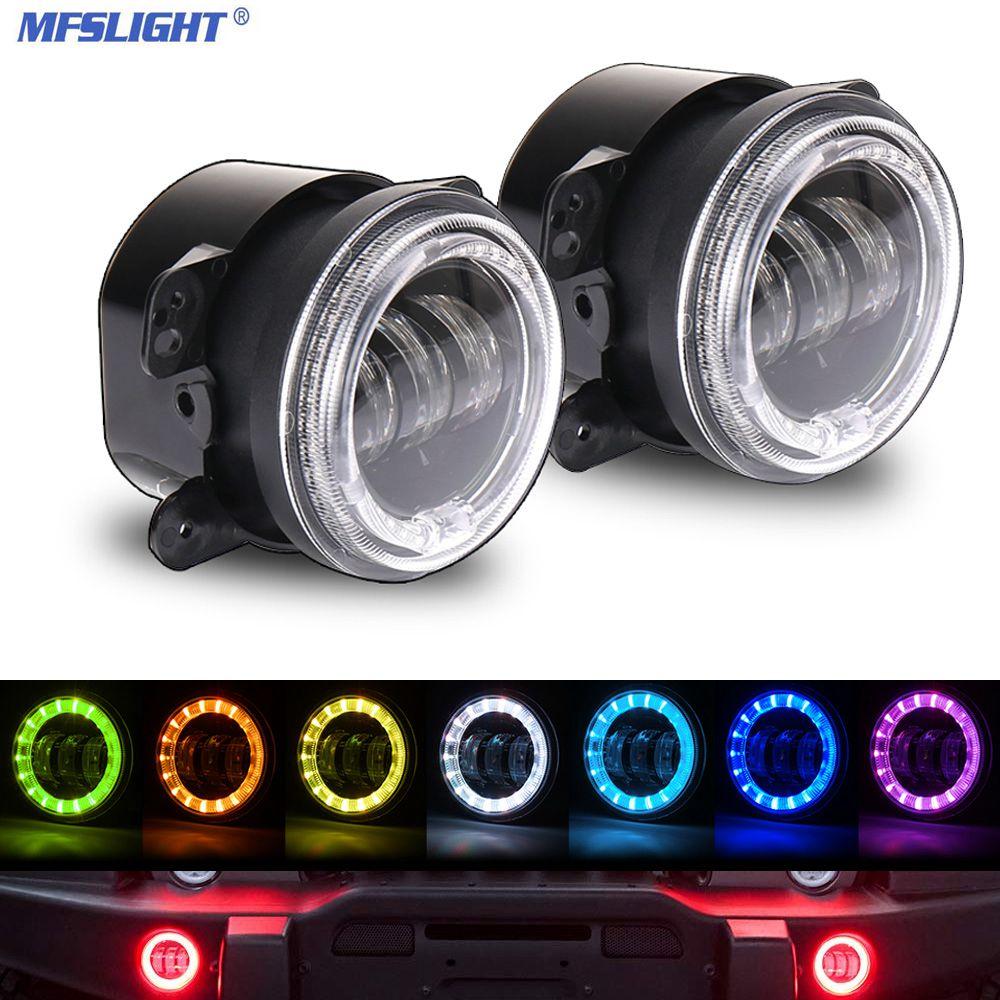 60W 2 pcs 3.2 Inch LED Fog Light Bluetooth RGB Foglights Halo Ring Angle Eye Off Road Fog Lamps for Jeep Wrangler JK 2007-2018