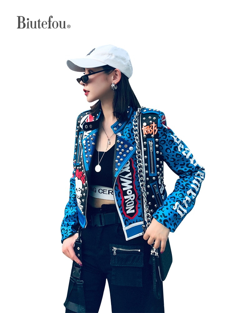 2021 Spring Women Short Letter Leopard Graffiti Print Rivet Slim Leather Jacket