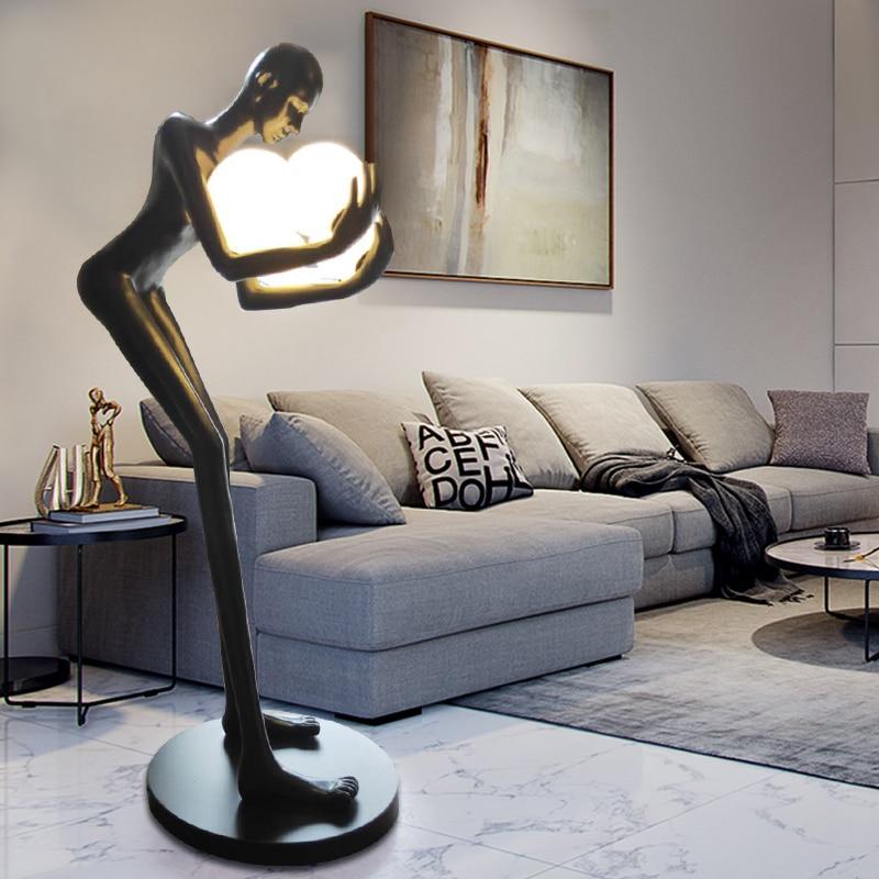 الإنسان النحت الكرة مصباح أرضي مصمم فندق اللوبي غرفة المعيشة الإبداعية كبيرة جسم الإنسان مصباح أرضي