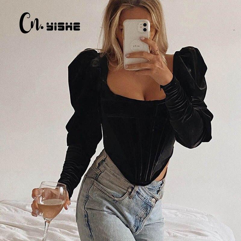 CNYISHE 2020 otoño Corset Tops mujeres Tees elegante negro terciopelo blusas camisas de cuello cuadrado Puff manga larga Camiseta Vintage Top