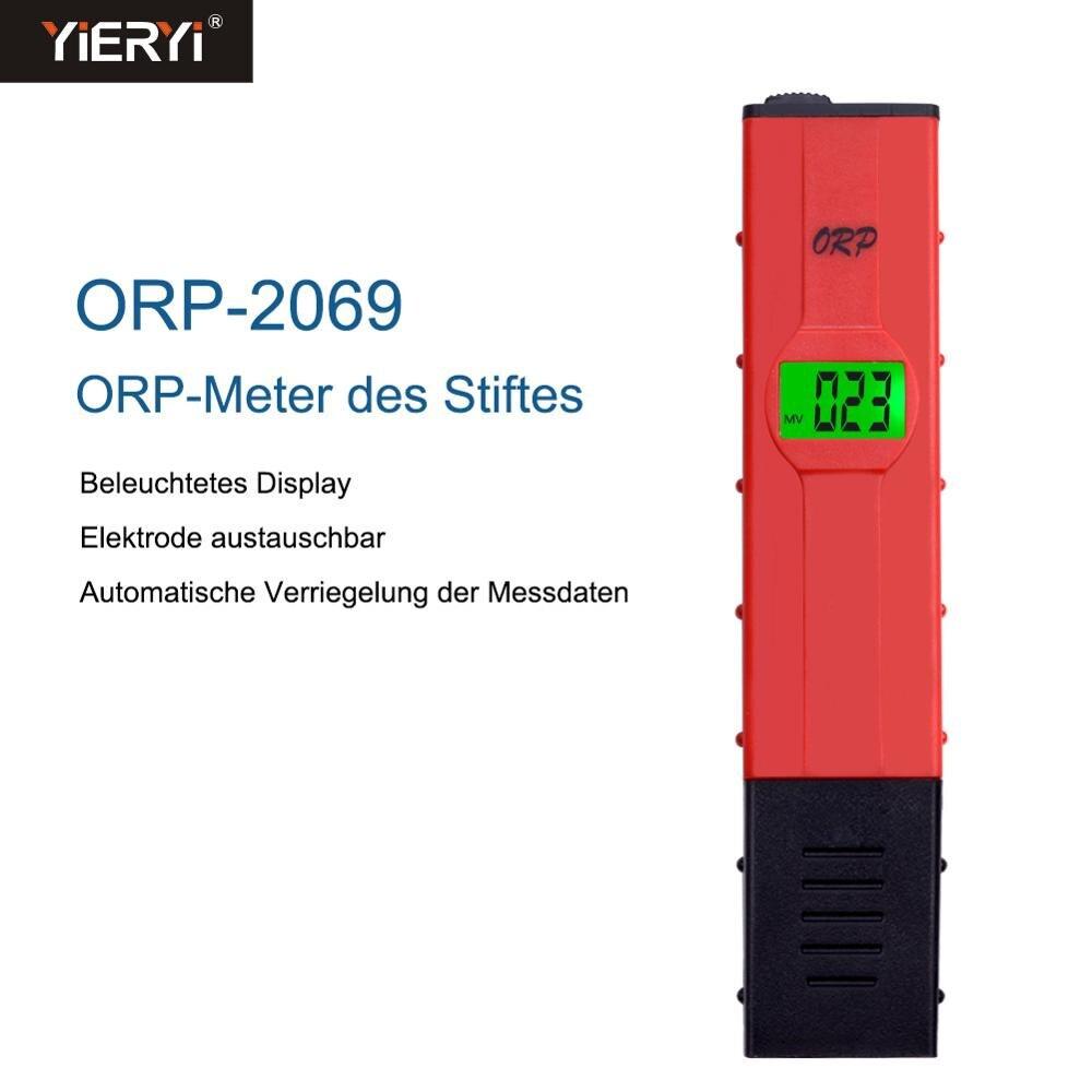 Yieryi novo ORP-2069 lcd digital tipo caneta vermelha tester quantidade de água piscina testador orp medidor com luz de fundo para gerador hidrogênio