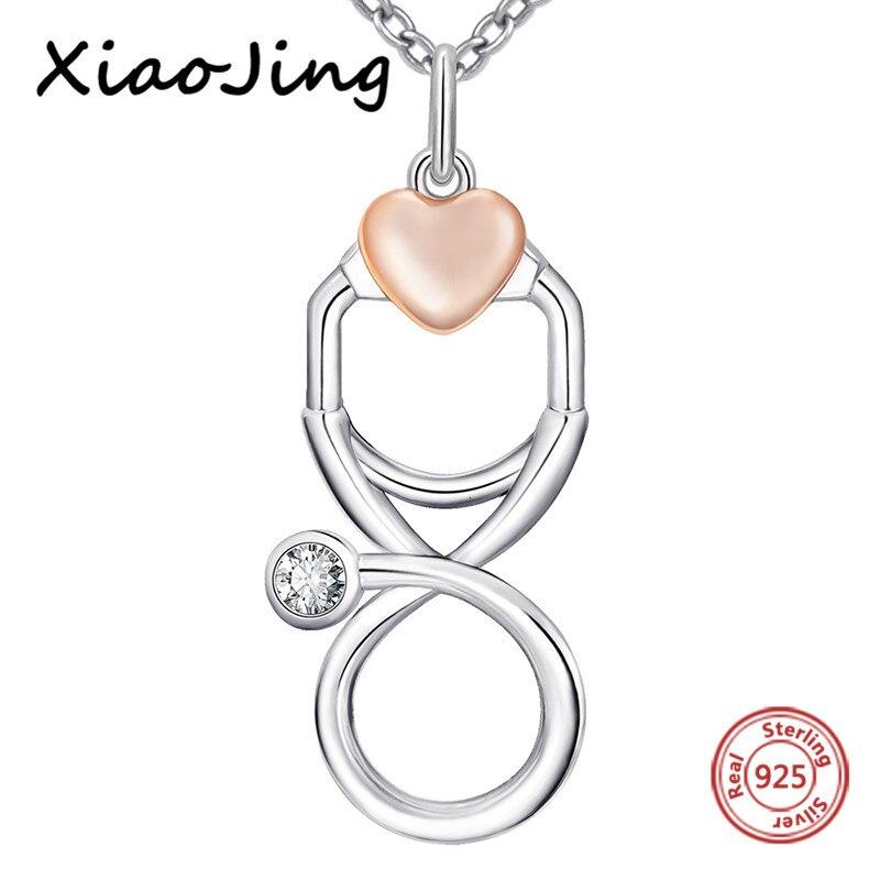 XiaoJing, 100% Стерлинговое Серебро 925 пробы, Сердце Любви, стетоскоп, цепочка, кулон и ожерелье, сделай сам, модное ювелирное изделие для женщин, по...