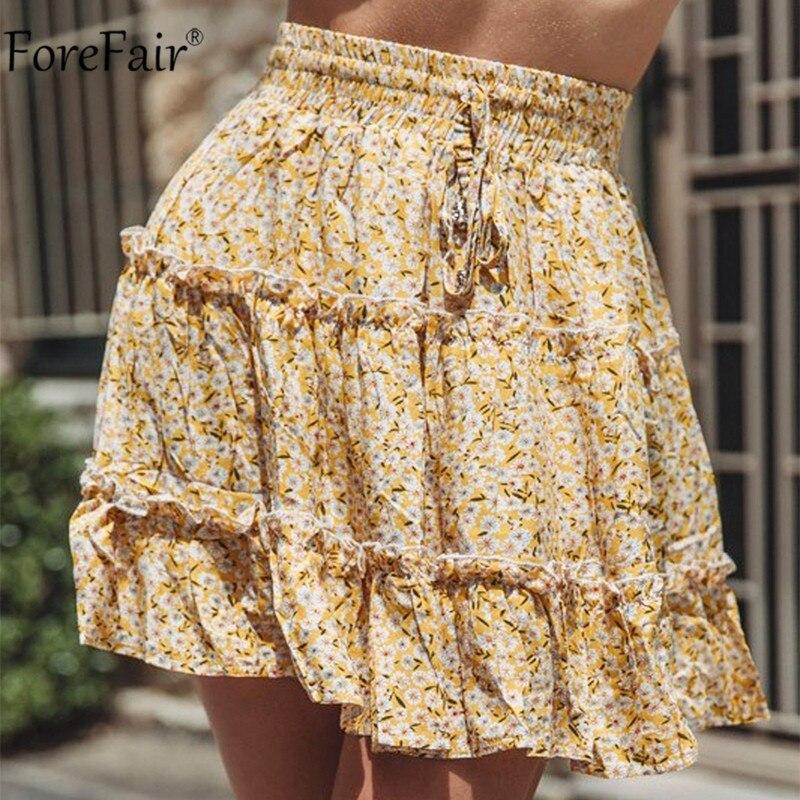 Forefair-minifalda veraniega con estampado Floral, para mujer, para playa, cintura alta, de talla grande, corte A, informal, con estampado de leopardo, faldas bohemias para mujer