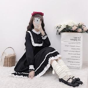 Japanese-style soft sister daily light Lolita color panel Bell long-sleeve sweet ruffle trim long dress female spring