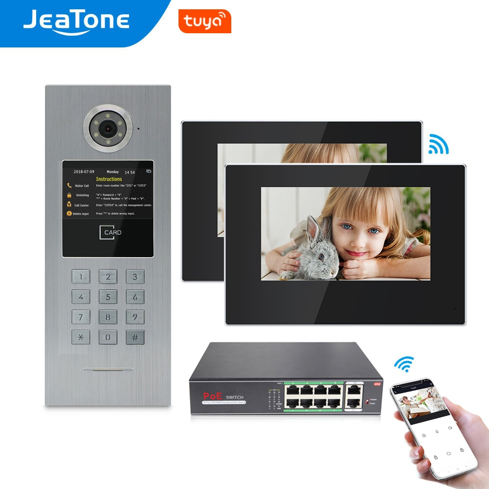JeaTone 7 Inch Tuya WiFi IP Video Intercom For Large Building 2Houses Access Control System Password/RFID Card/APP Remote Unlock
